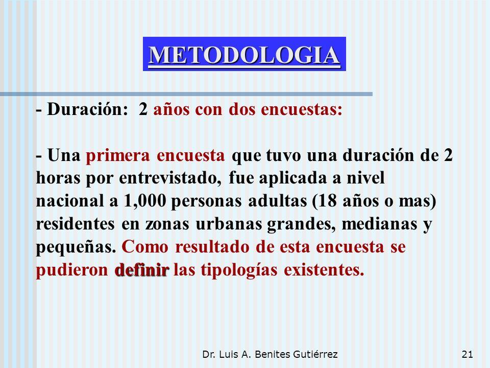 Dr. Luis A. Benites Gutiérrez21 - Duración: 2 años con dos encuestas: definir - Una primera encuesta que tuvo una duración de 2 horas por entrevistado