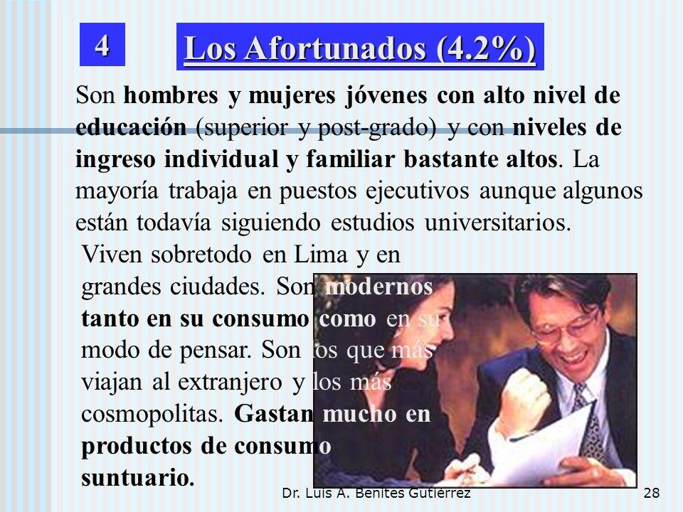 Dr. Luis A. Benites Gutiérrez28 Son hombres y mujeres jóvenes con alto nivel de educación (superior y post-grado) y con niveles de ingreso individual
