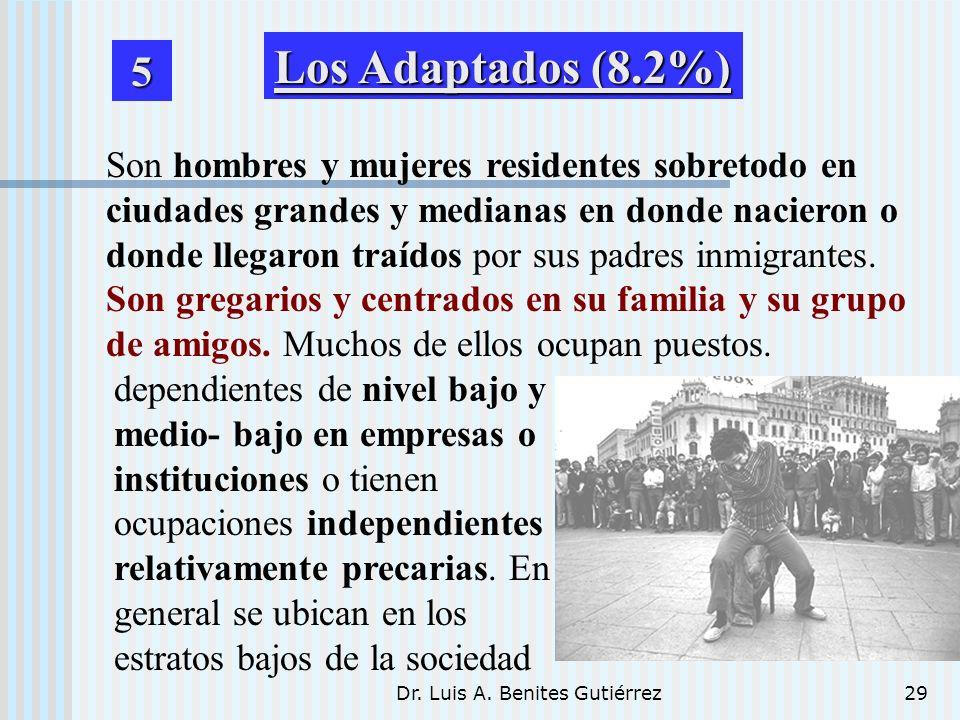 Dr. Luis A. Benites Gutiérrez29 Son hombres y mujeres residentes sobretodo en ciudades grandes y medianas en donde nacieron o donde llegaron traídos p