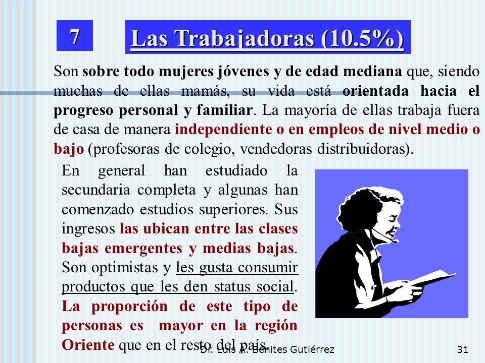 Dr. Luis A. Benites Gutiérrez31 Son sobre todo mujeres jóvenes y de edad mediana que, siendo muchas de ellas mamás, su vida está orientada hacia el pr