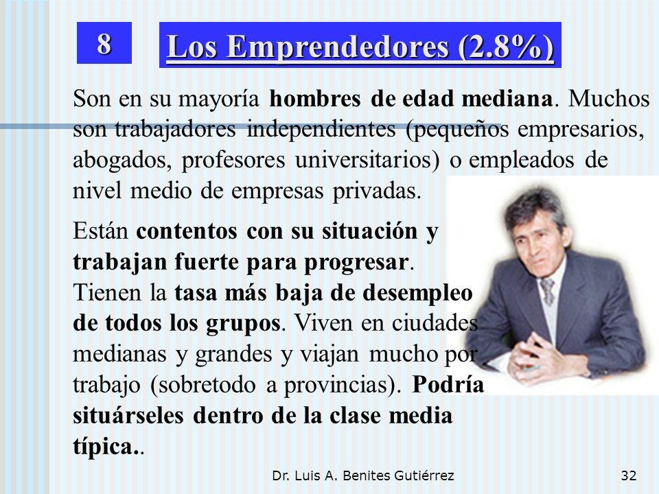 Dr. Luis A. Benites Gutiérrez32 Son en su mayoría hombres de edad mediana. Muchos son trabajadores independientes (pequeños empresarios, abogados, pro