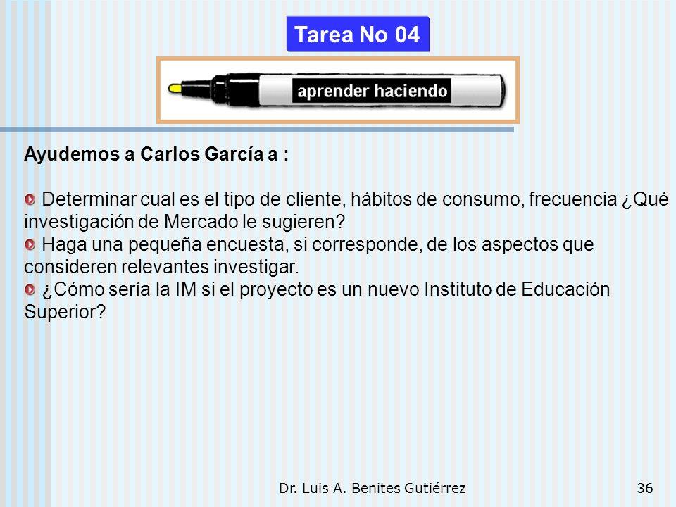 Dr. Luis A. Benites Gutiérrez36 Ayudemos a Carlos García a : Determinar cual es el tipo de cliente, hábitos de consumo, frecuencia ¿Qué investigación