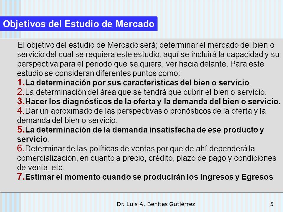 Dr. Luis A. Benites Gutiérrez5 El objetivo del estudio de Mercado será; determinar el mercado del bien o servicio del cual se requiera este estudio, a
