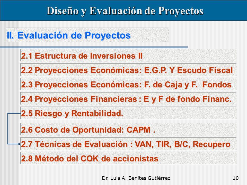 Dr. Luis A. Benites Gutiérrez10 II. Evaluación de Proyectos II.