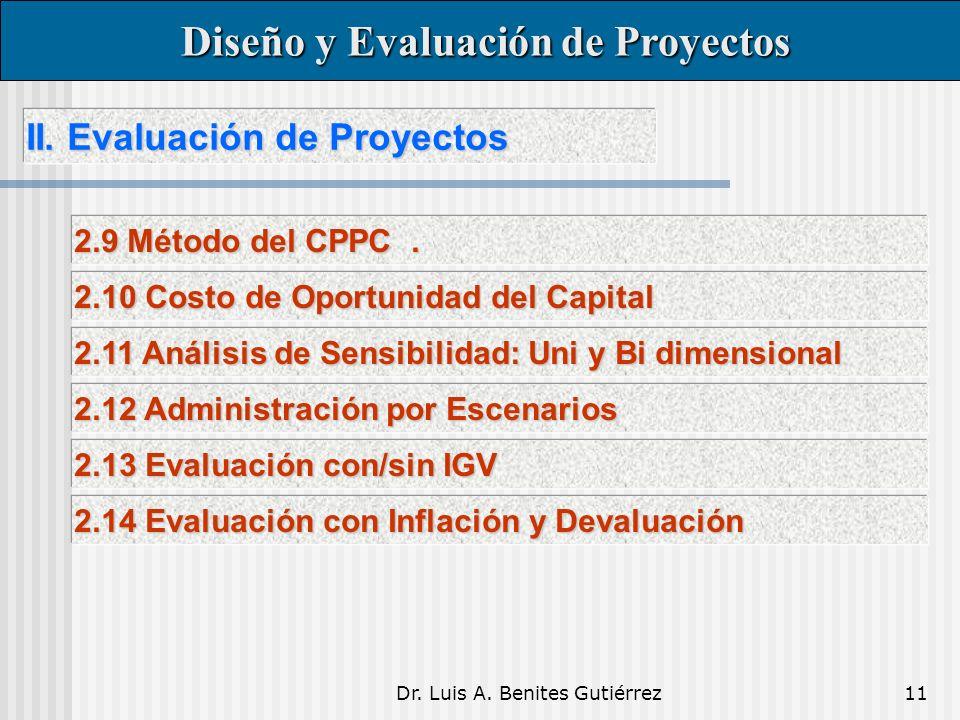 Dr. Luis A. Benites Gutiérrez11 II. Evaluación de Proyectos II.