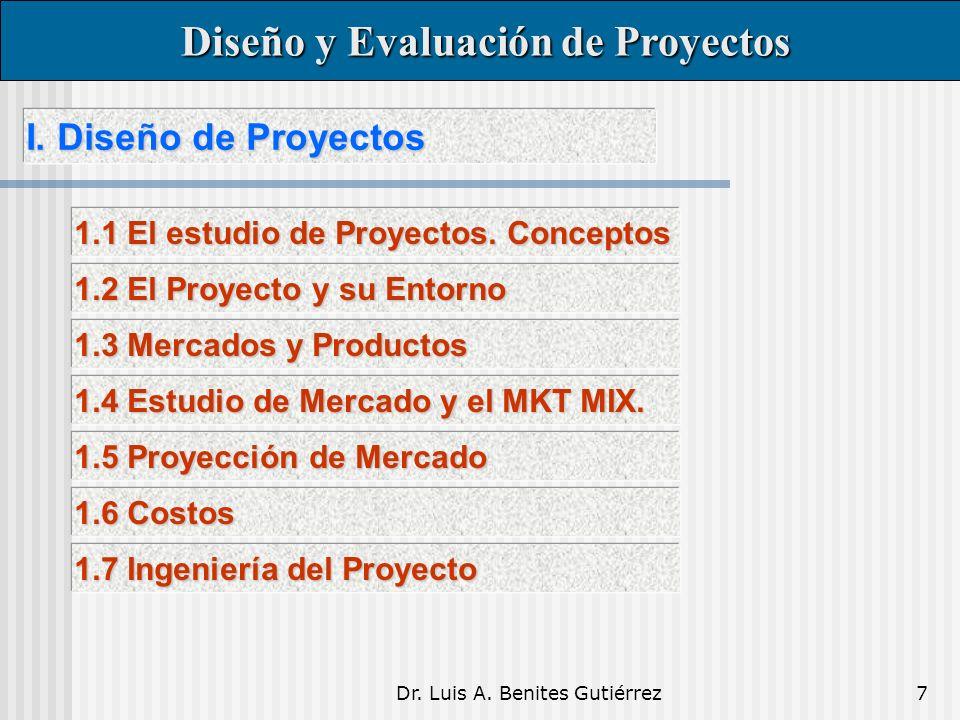 Dr. Luis A. Benites Gutiérrez7 I. Diseño de Proyectos I. Diseño de Proyectos Diseño y Evaluación de Proyectos Diseño y Evaluación de Proyectos 1.1 El