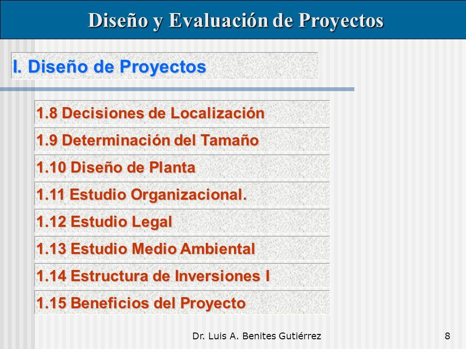 Dr. Luis A. Benites Gutiérrez8 I. Diseño de Proyectos I. Diseño de Proyectos Diseño y Evaluación de Proyectos Diseño y Evaluación de Proyectos 1.8 Dec