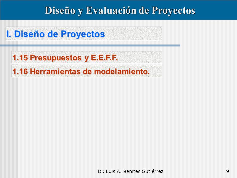 Dr. Luis A. Benites Gutiérrez9 I. Diseño de Proyectos I. Diseño de Proyectos Diseño y Evaluación de Proyectos Diseño y Evaluación de Proyectos 1.15 Pr
