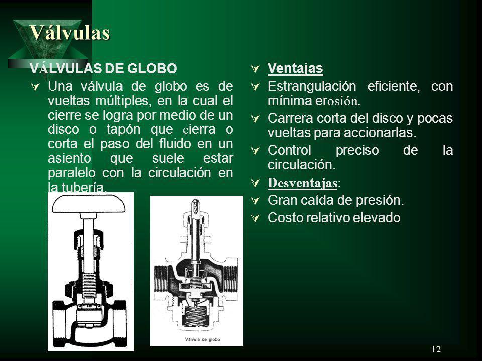 12 Válvulas V Á LVULAS DE GLOBO Una válvula de globo es de vueltas múltiples, en la cual el cierre se logra por medio de un disco o tapón que c ierra