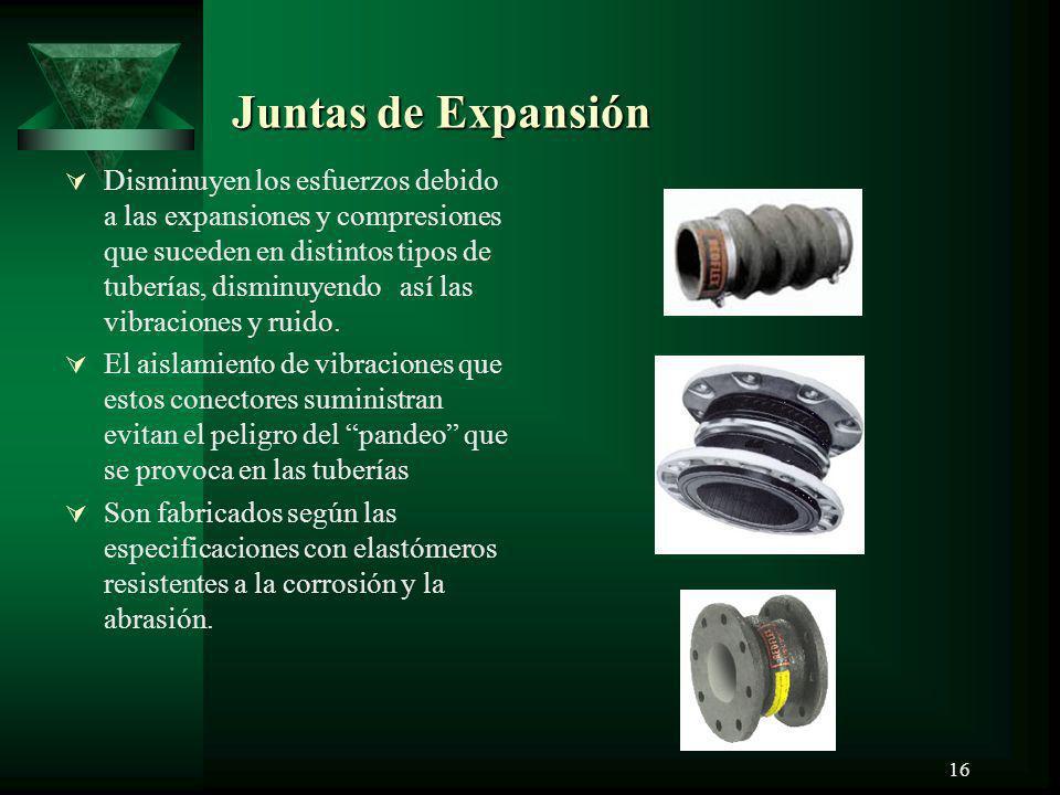 16 Juntas de Expansión Disminuyen los esfuerzos debido a las expansiones y compresiones que suceden en distintos tipos de tuberías, disminuyendo así l