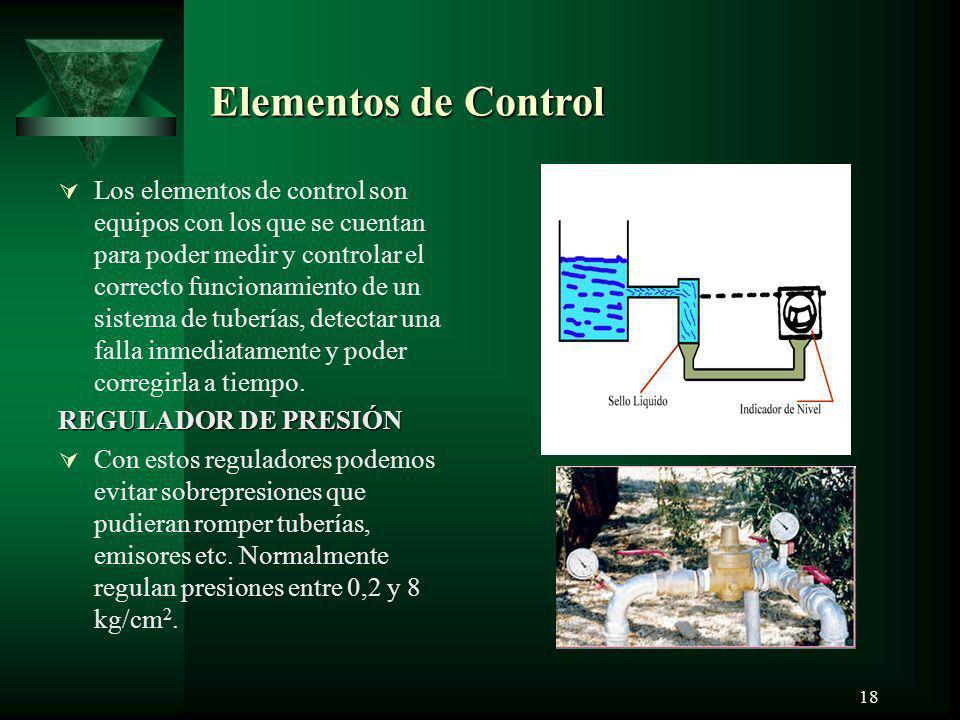 18 Elementos de Control Los elementos de control son equipos con los que se cuentan para poder medir y controlar el correcto funcionamiento de un sist