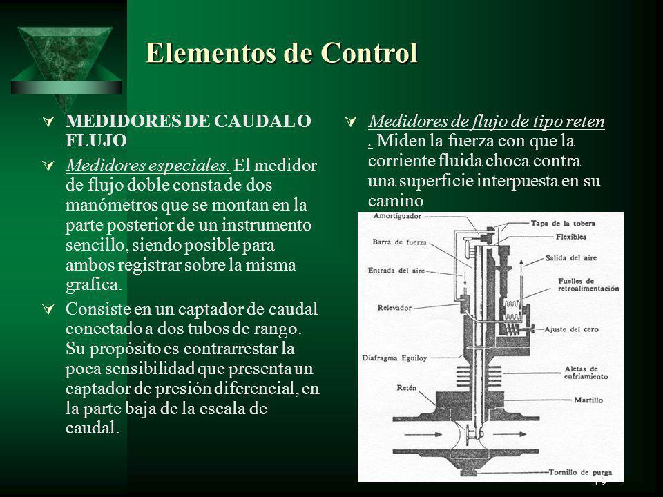 19 Elementos de Control MEDIDORES DE CAUDAL O FLUJO Medidores especiales. El medidor de flujo doble consta de dos manómetros que se montan en la parte