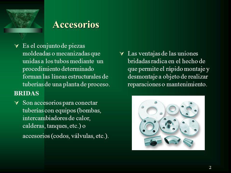 2 Accesorios Accesorios Es el conjunto de piezas moldeadas o mecanizadas que unidas a los tubos mediante un procedimiento determinado forman las línea