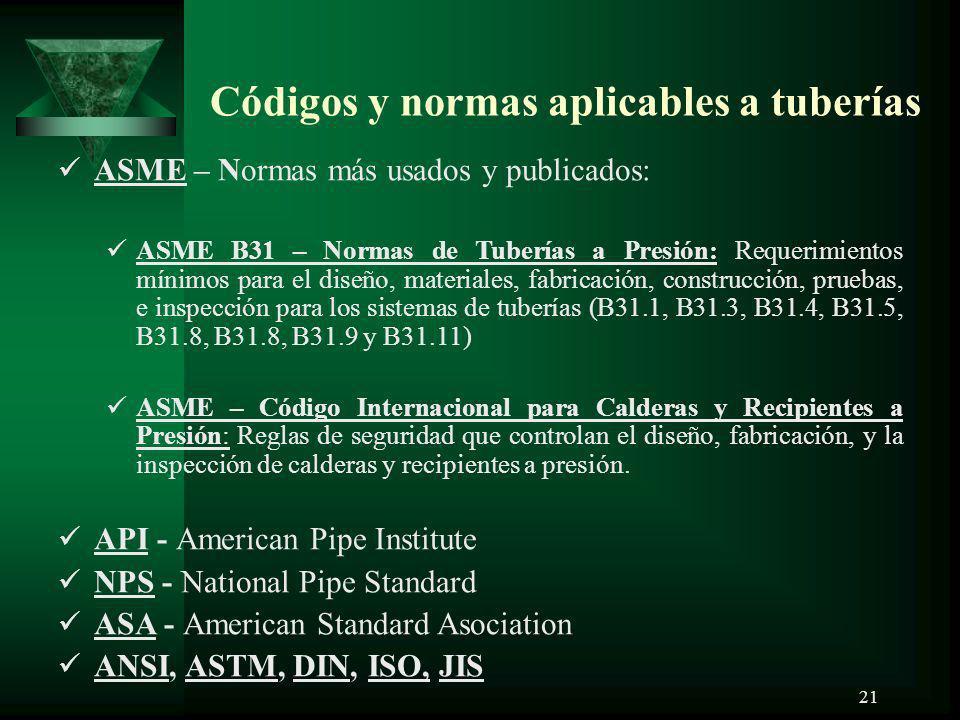 21 Códigos y normas aplicables a tuberías ASME – Normas más usados y publicados: ASME B31 – Normas de Tuberías a Presión: Requerimientos mínimos para