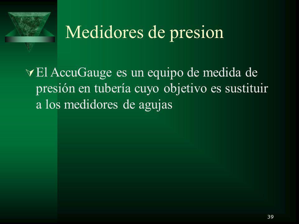 39 Medidores de presion El AccuGauge es un equipo de medida de presión en tubería cuyo objetivo es sustituir a los medidores de agujas