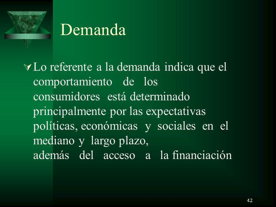 42 Demanda Lo referente a la demanda indica que el comportamiento de los consumidores está determinado principalmente por las expectativas políticas,