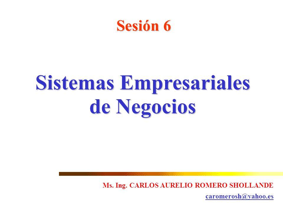 Sesión 6 Sistemas Empresariales de Negocios Ms. Ing. CARLOS AURELIO ROMERO SHOLLANDE caromerosh@yahoo.es