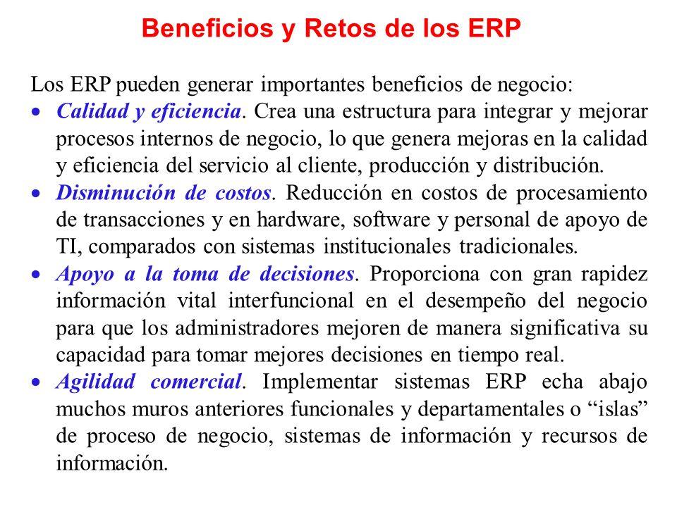 Beneficios y Retos de los ERP Los ERP pueden generar importantes beneficios de negocio: Calidad y eficiencia. Crea una estructura para integrar y mejo