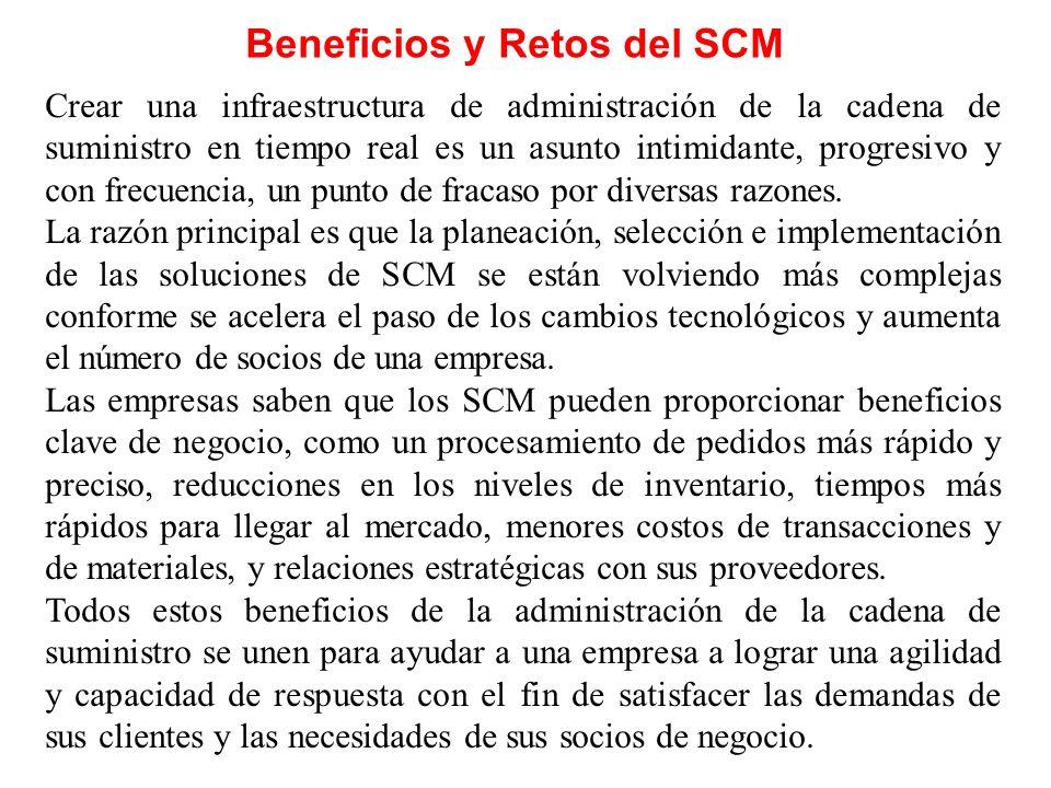 Beneficios y Retos del SCM Crear una infraestructura de administración de la cadena de suministro en tiempo real es un asunto intimidante, progresivo