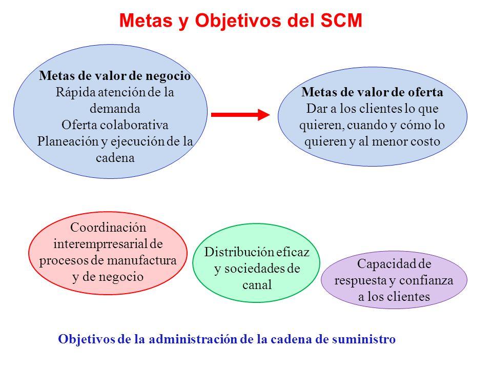 Metas y Objetivos del SCM Metas de valor de negocio Rápida atención de la demanda Oferta colaborativa Planeación y ejecución de la cadena Metas de val