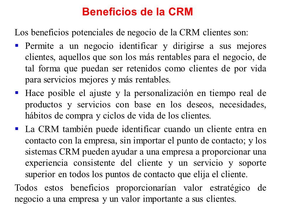 Beneficios de la CRM Los beneficios potenciales de negocio de la CRM clientes son: Permite a un negocio identificar y dirigirse a sus mejores clientes
