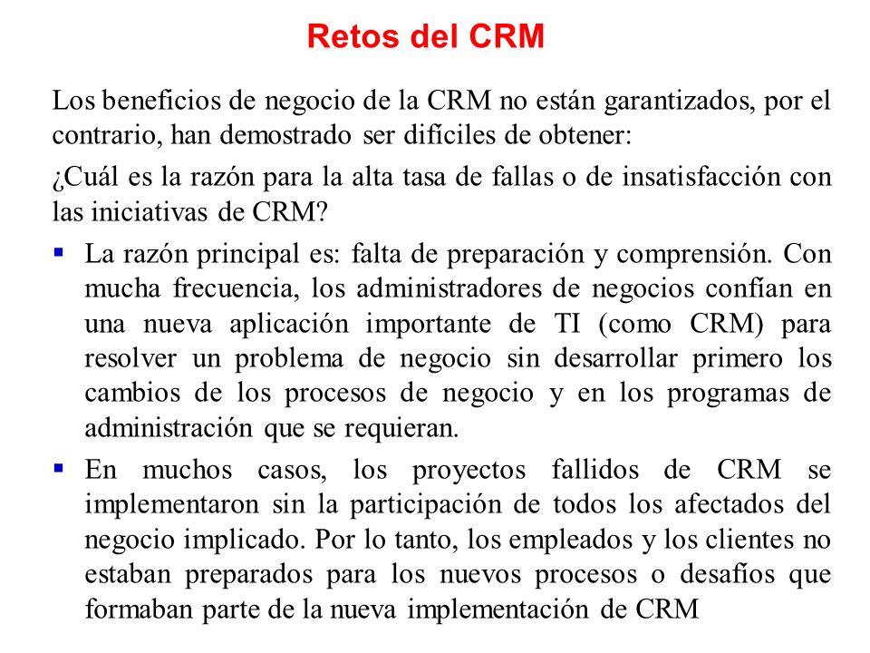 Retos del CRM Los beneficios de negocio de la CRM no están garantizados, por el contrario, han demostrado ser difíciles de obtener: ¿Cuál es la razón