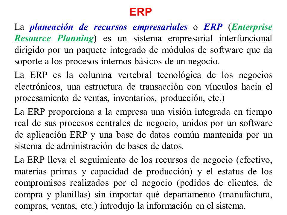 ERP La planeación de recursos empresariales o ERP (Enterprise Resource Planning) es un sistema empresarial interfuncional dirigido por un paquete inte