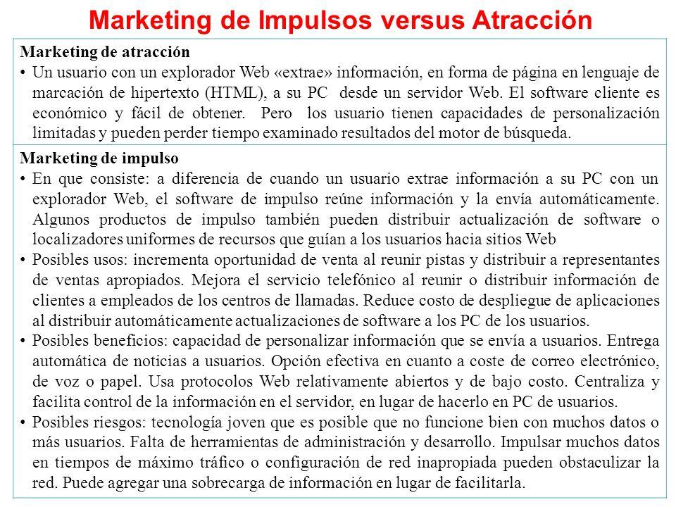 Marketing de Impulsos versus Atracción Marketing de atracción Un usuario con un explorador Web «extrae» información, en forma de página en lenguaje de marcación de hipertexto (HTML), a su PC desde un servidor Web.