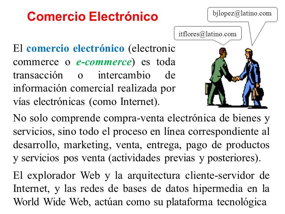 El comercio electrónico (electronic commerce o e-commerce) es toda transacción o intercambio de información comercial realizada por vías electrónicas (como Internet).