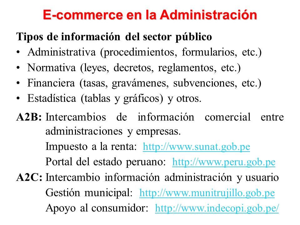 Tipos de información del sector público Administrativa (procedimientos, formularios, etc.) Normativa (leyes, decretos, reglamentos, etc.) Financiera (tasas, gravámenes, subvenciones, etc.) Estadística (tablas y gráficos) y otros.