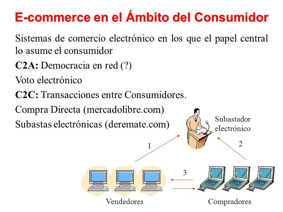 E-commerce en el Ámbito del Consumidor Sistemas de comercio electrónico en los que el papel central lo asume el consumidor C2A: Democracia en red (?) Voto electrónico C2C: Transacciones entre Consumidores.