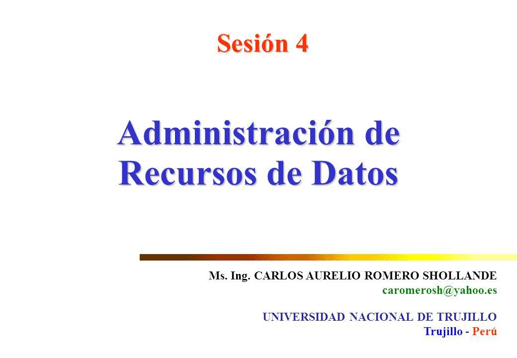 Administración de Recursos de Datos Sesión 4 Ms. Ing. CARLOS AURELIO ROMERO SHOLLANDE caromerosh@yahoo.es UNIVERSIDAD NACIONAL DE TRUJILLO Trujillo -
