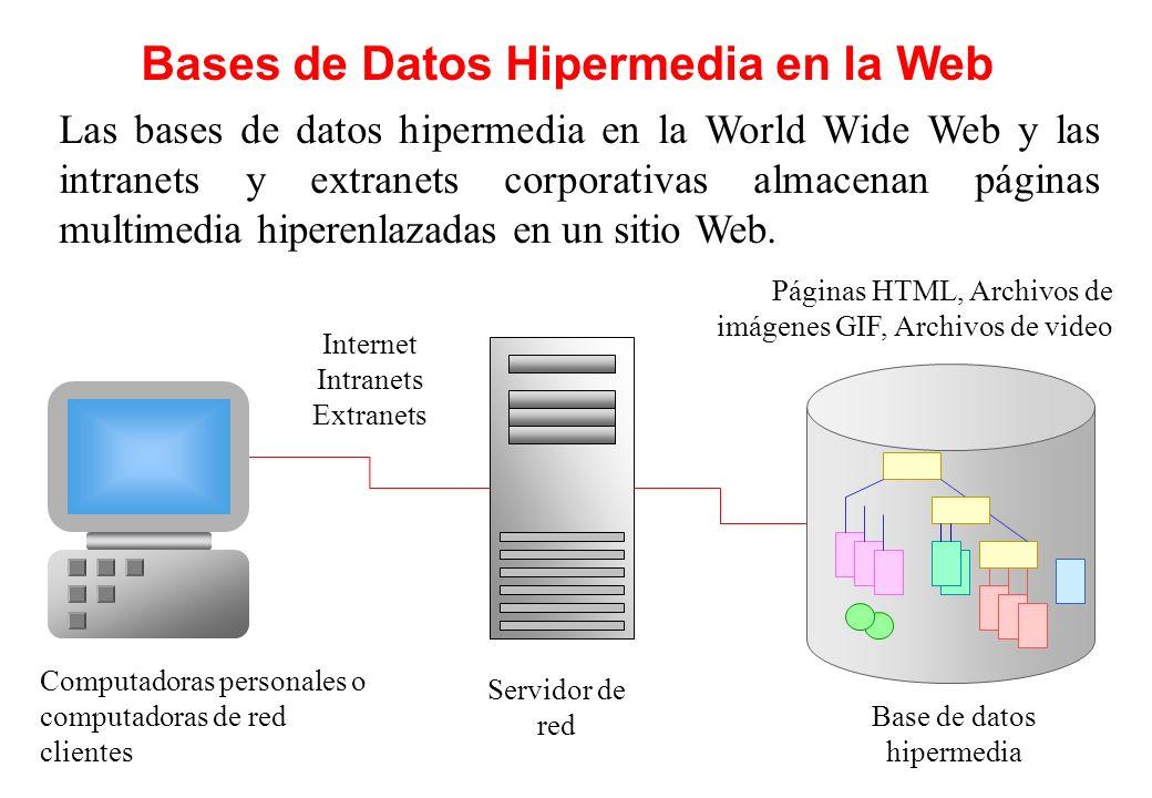 Bases de Datos Hipermedia en la Web Las bases de datos hipermedia en la World Wide Web y las intranets y extranets corporativas almacenan páginas mult