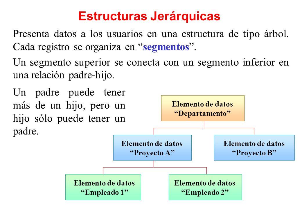 Estructuras Jerárquicas Elemento de datos Departamento Elemento de datos Proyecto A Elemento de datos Empleado 1 Presenta datos a los usuarios en una