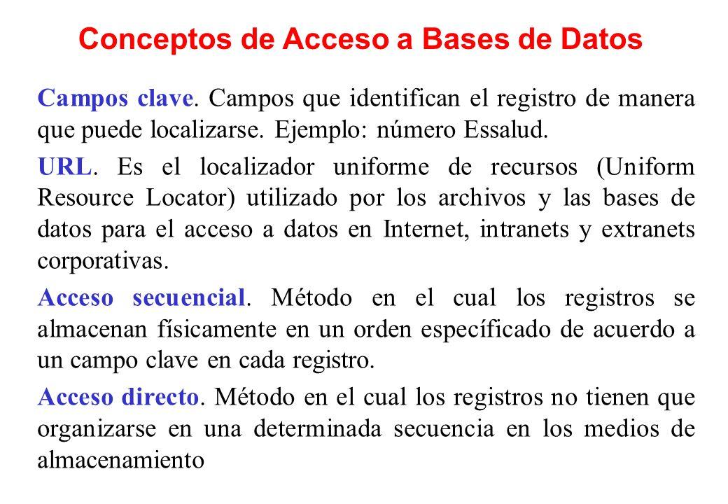 Conceptos de Acceso a Bases de Datos Campos clave. Campos que identifican el registro de manera que puede localizarse. Ejemplo: número Essalud. URL. E