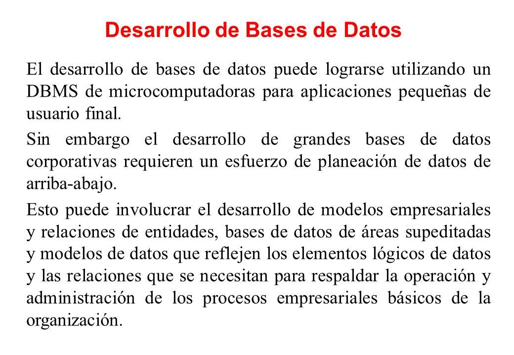 Desarrollo de Bases de Datos El desarrollo de bases de datos puede lograrse utilizando un DBMS de microcomputadoras para aplicaciones pequeñas de usua