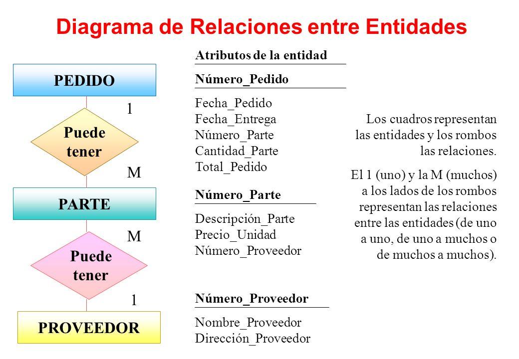 Diagrama de Relaciones entre Entidades PEDIDOPARTEPROVEEDOR Puede tener 1 M 1 M Atributos de la entidad Número_Pedido Fecha_Pedido Fecha_Entrega Númer