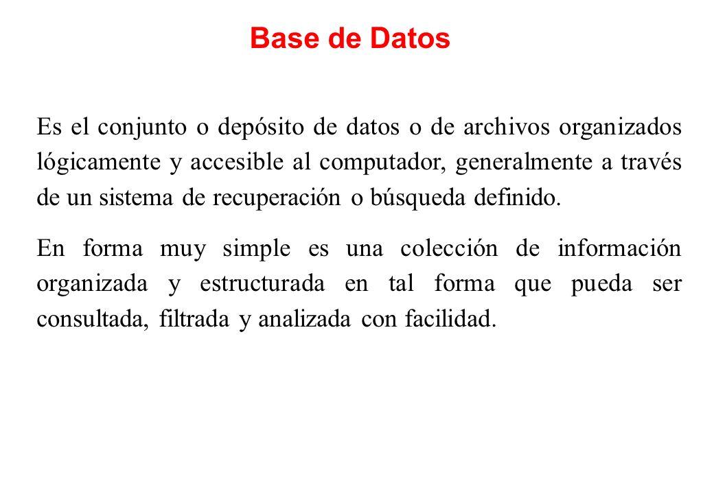 Base de Datos Es el conjunto o depósito de datos o de archivos organizados lógicamente y accesible al computador, generalmente a través de un sistema