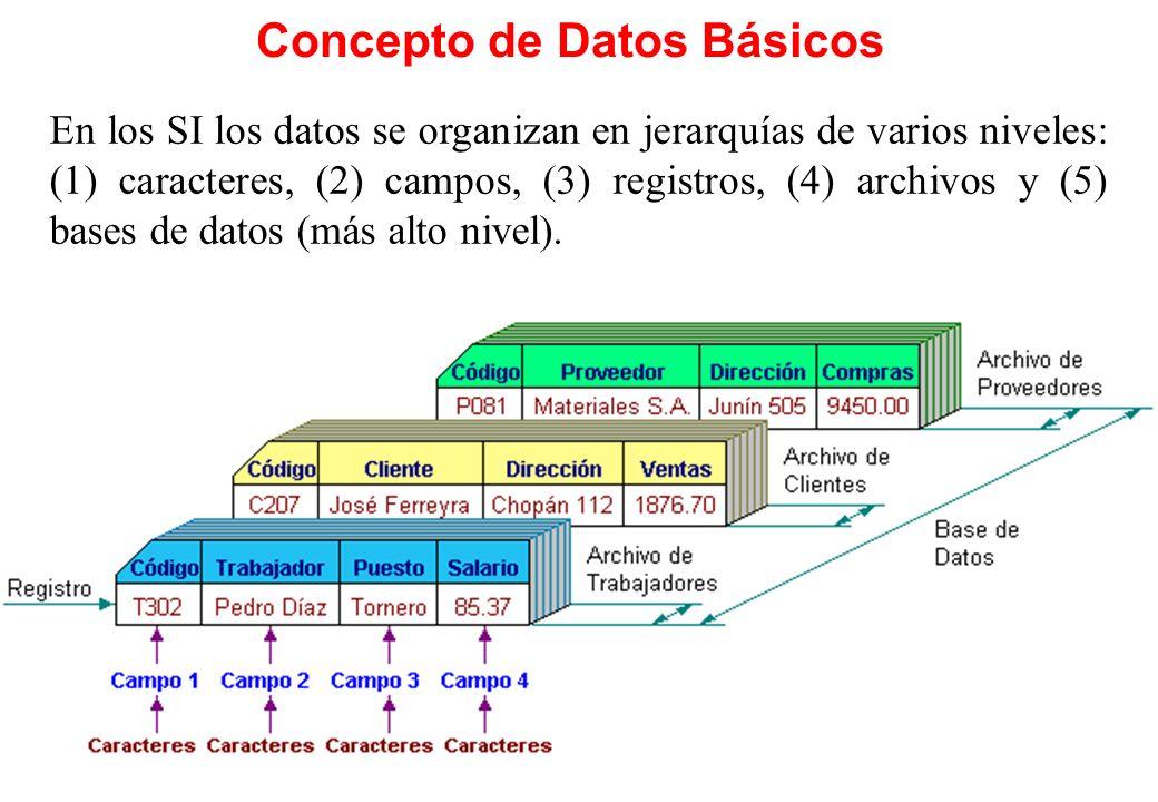 Concepto de Datos Básicos En los SI los datos se organizan en jerarquías de varios niveles: (1) caracteres, (2) campos, (3) registros, (4) archivos y