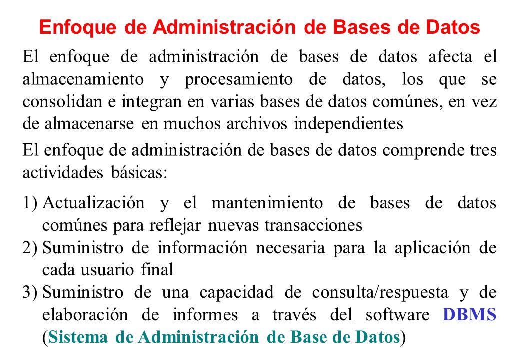 Enfoque de Administración de Bases de Datos El enfoque de administración de bases de datos afecta el almacenamiento y procesamiento de datos, los que