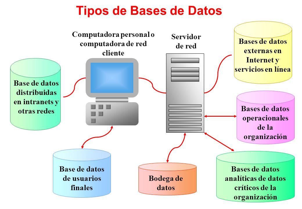 Tipos de Bases de Datos Base de datos distribuidas en intranets y otras redes Base de datos de usuarios finales Servidor de red Computadora personal o