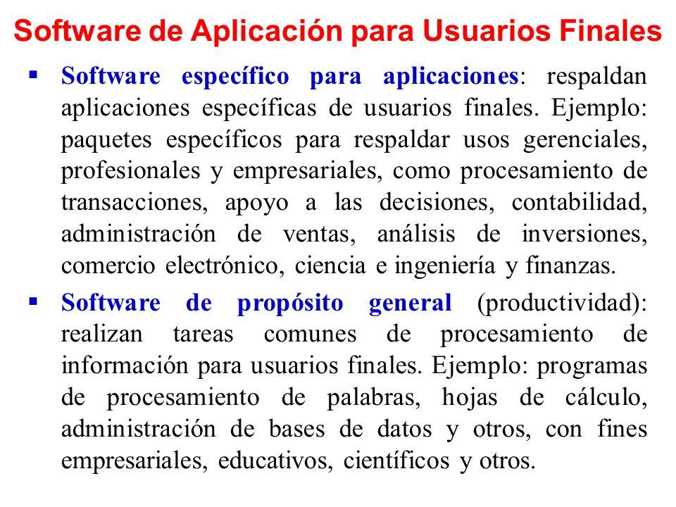 Software de Aplicación para Usuarios Finales Software específico para aplicaciones: respaldan aplicaciones específicas de usuarios finales. Ejemplo: p