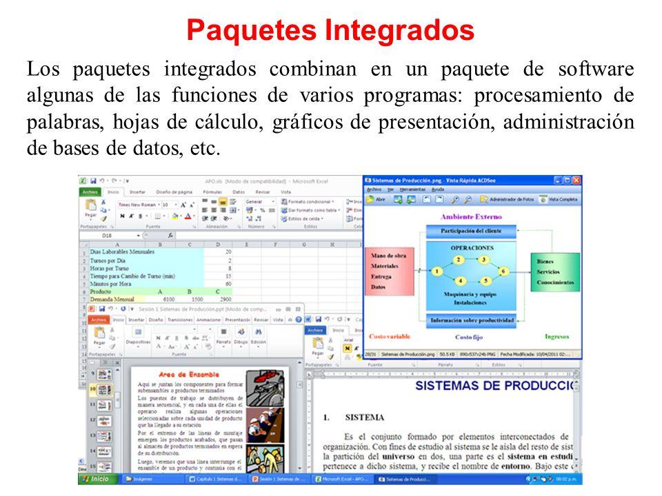 Paquetes Integrados Los paquetes integrados combinan en un paquete de software algunas de las funciones de varios programas: procesamiento de palabras