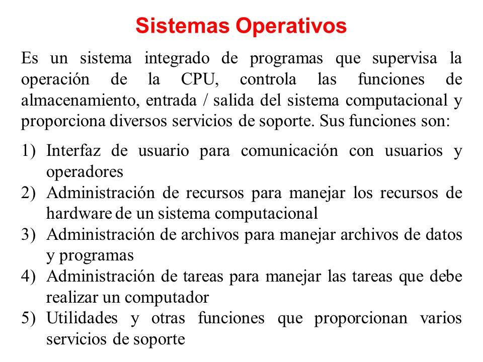 Sistemas Operativos Es un sistema integrado de programas que supervisa la operación de la CPU, controla las funciones de almacenamiento, entrada / sal