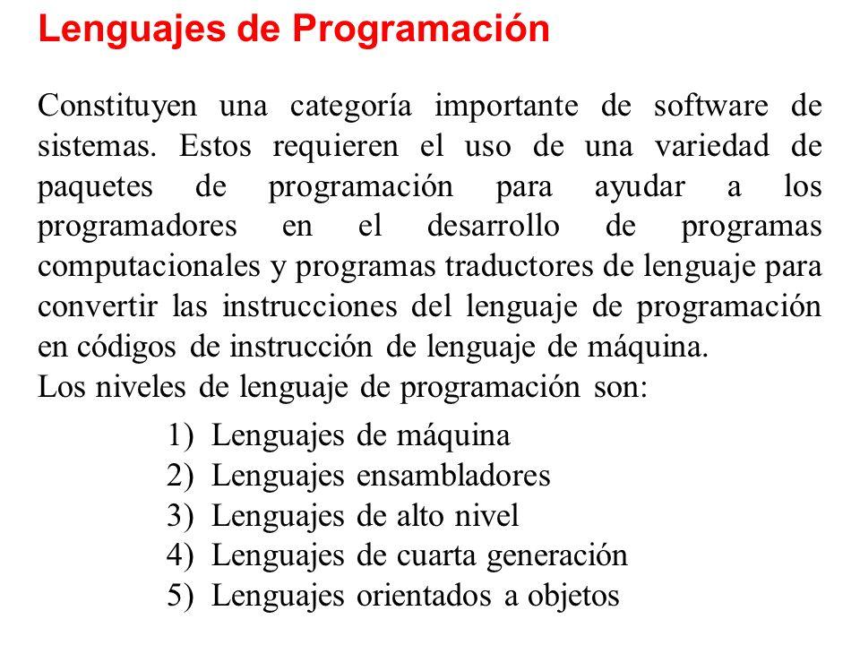 Lenguajes de Programación Constituyen una categoría importante de software de sistemas. Estos requieren el uso de una variedad de paquetes de programa