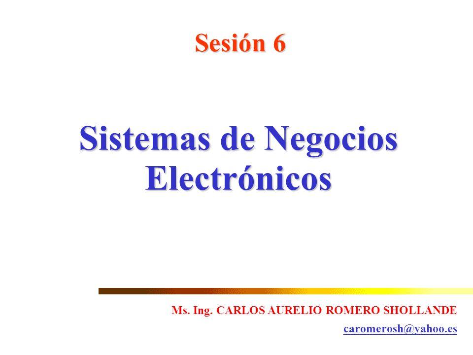 Sesión 6 Sistemas de Negocios Electrónicos Ms. Ing. CARLOS AURELIO ROMERO SHOLLANDE caromerosh@yahoo.es