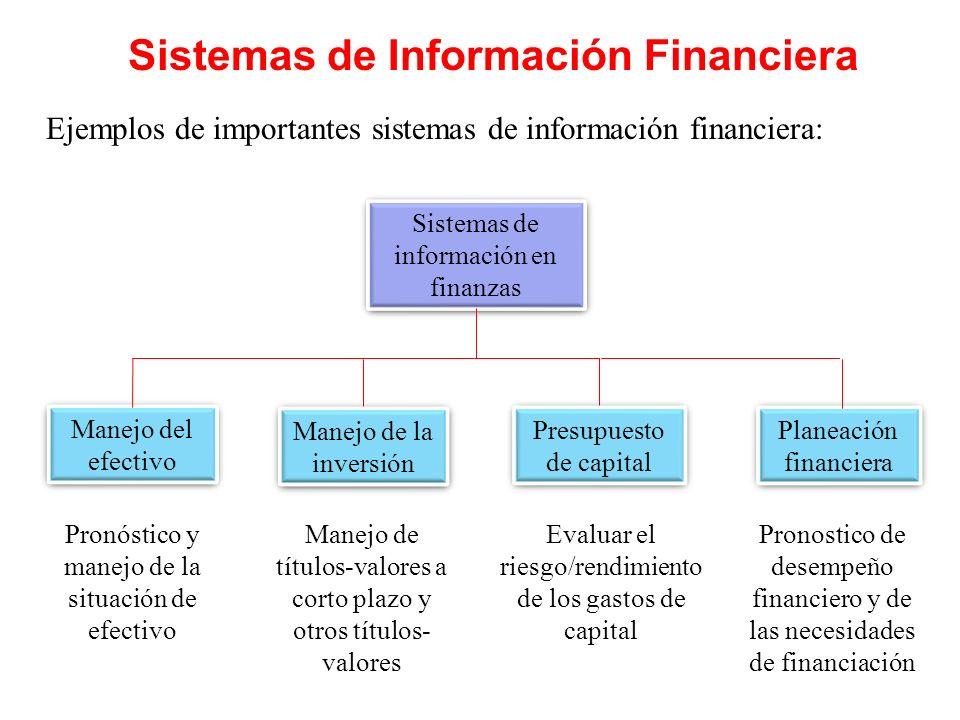Sistemas de Información Financiera Ejemplos de importantes sistemas de información financiera: Sistemas de información en finanzas Manejo de la invers