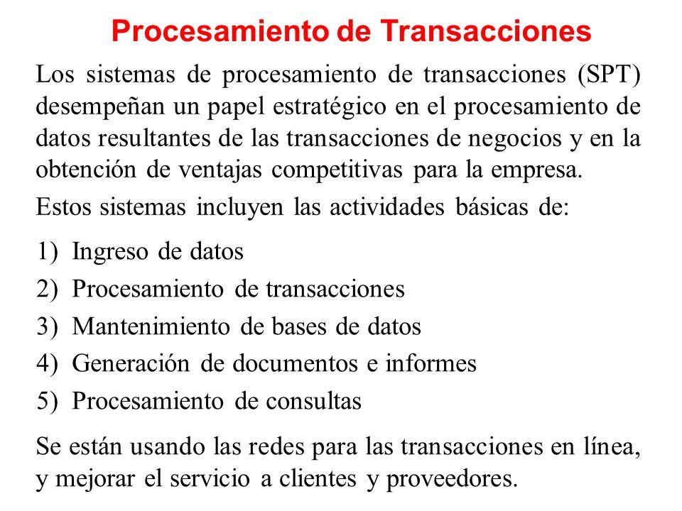 Procesamiento de Transacciones Los sistemas de procesamiento de transacciones (SPT) desempeñan un papel estratégico en el procesamiento de datos resul