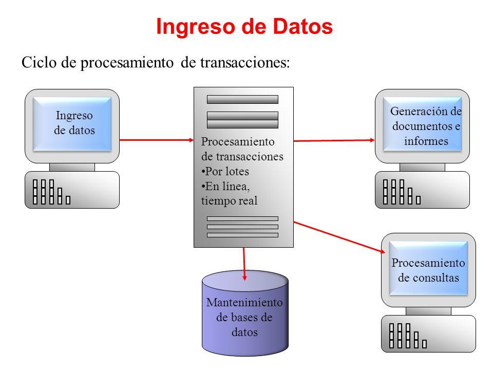 Ingreso de Datos Ciclo de procesamiento de transacciones: Ingreso de datos Generación de documentos e informes Procesamiento de consultas Mantenimient