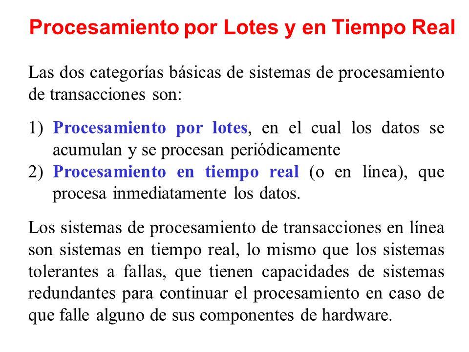 Procesamiento por Lotes y en Tiempo Real 1)Procesamiento por lotes, en el cual los datos se acumulan y se procesan periódicamente 2)Procesamiento en t